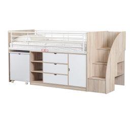 Lit compact bureau CABIN blanc ch�ne