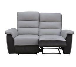Canapé 2 places relax manuel WELTON Cuir/micro.Charbon/gris clair