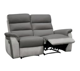 Canapé 2 places relax manuel WELTON Cuir/micro.Gris clair//Gris F