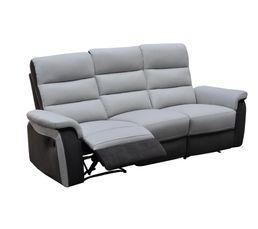 canap 3 places 2 relax willy pu microfibre gris clair pas cher avis et prix en promo. Black Bedroom Furniture Sets. Home Design Ideas
