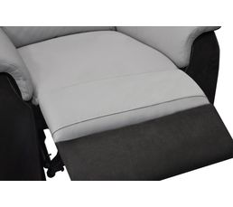 Fauteuil relax manuel WELTON Cuir/micro.Charbon/gris clair