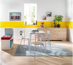 Tables - table + 4 chaises RICK Blanc/chêne