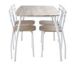 table + 4 chaises RICK Blanc/chêne