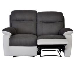 Canap 2 places 2 relax warm ii polyur thane blanc micro gris canap s but - Canape relax 2 places ...