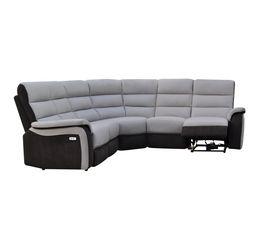 Canapé angle relax électrique WELTON Cuir Gris cl/micro.Charbon