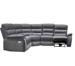 Canapés - Canapé angle relax électrique WELTON Cuir Gris F/micro.gris clair