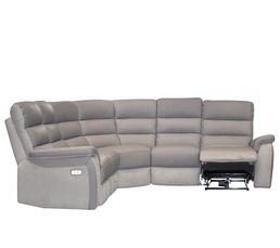 Canapé angle relax électrique WELTON Cuir Taupe/micro.gris clair