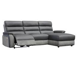 Canap�s - Canapé angle relax électrique méridienne droite WELTON Cuir/micro.Gris clair//Gris F