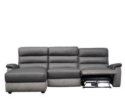 Canapés - Canapé angle relax électrique méridienne gauche WELTON Cuir/micro.Gris clair//Gris F