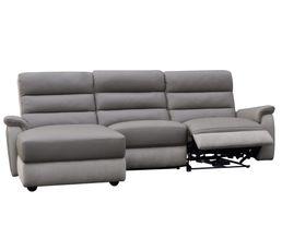 Canap�s - Canapé angle relax électrique méridienne gauche WELTON Cuir Taupe/micro.gris clair