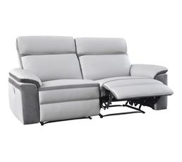 Canap�s - Canapé 3 places 2 relax WILLY PU/Microfibre Gris clair