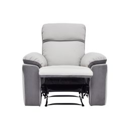 fauteuil relax willy pu microfibre gris clair fauteuils but. Black Bedroom Furniture Sets. Home Design Ideas