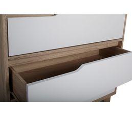 Commode 3 tiroirs SCANDINAVIA imitation chêne/blanc