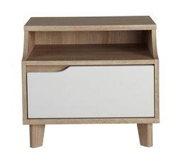 Chevet 1 tiroir et 1 niche SCANDINAVIA Imitation ch�ne/blanc