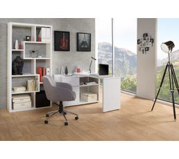 bureau d 39 angle space blanc brillant bureaux but. Black Bedroom Furniture Sets. Home Design Ideas