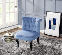 Fauteuil Crapaud SARAH Tissu Bleu