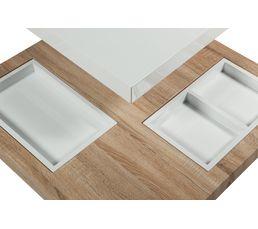 Table basse pivotante TURN Chêne et blanc laqué