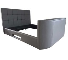 Lit 160x200 cm TV BED PU gris support TV motorisé