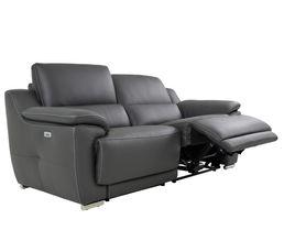 Canapé 3 places 2 Rlx électri. VOGG II Cuir / croûte cuir Gris foncé
