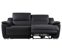 Canapé 3 places 2 Rlx électri. VOGG II Cuir / croûte cuir Noir