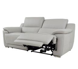 Canapé 3 places 2 Rlx électri. VOGG II Cuir / croûte cuir Gris clair