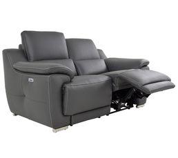 Canapé 2 places 2 Rlx électri. VOGG II Cuir / croûte cuir Gris foncé