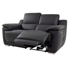 Canapé 2 places 2 Rlx électri. VOGG II Cuir / croûte cuir Noir