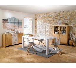 Buffet 2 portes 3 tiroirs MALMO Chêne / blanc