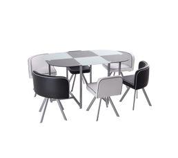 Tables - Table + 6 chaises MELO Noir / blanc