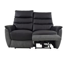 Canapé 2 places relax électri. MAESTRO Cuir/tissu Noir/Gris