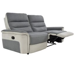 Canapé 3 places 2 relax manuel SEATTLE microfibre Gris/Gris perle