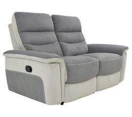 Canapé 2 places 2 relax manuel SEATTLE microfibre Gris/Gris perle