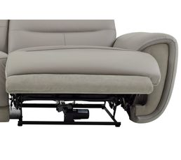 Canapé 3 places relax électri. CASTLE Cuir/tissu Taupe