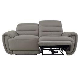 Canapé 2 places relax électri. CASTLE Cuir/tissu Taupe
