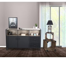 buffet 2p 2t park avenue noir mat buffets but. Black Bedroom Furniture Sets. Home Design Ideas