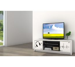 meuble tv sound blanc meubles tv but. Black Bedroom Furniture Sets. Home Design Ideas