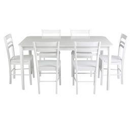 Tables - Table + 6 chaises LUCIE Blanc