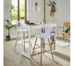 Mange debout lucie bicolore tables but - Table mange debout avec rangement ...