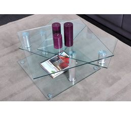 Table basse DINO 2 verre et chromé