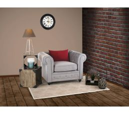 Fauteuil chesterfield chester tissu gris clair fauteuils but - Fauteuil chesterfield tissu ...