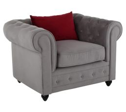 Fauteuils - Fauteuil chesterfield CHESTER Tissu gris clair