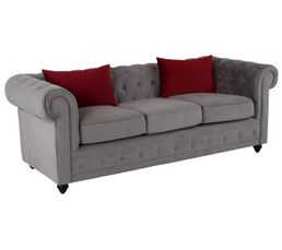 Chesterfield 3 places CHESTER tissu gris clair