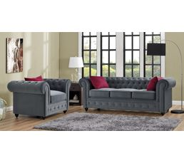 Canapés - Chesterfield 3 places CHESTER tissu gris anthracite