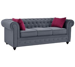 Canap�s - Chesterfield 3 places CHESTER tissu gris anthracite