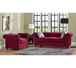 Chesterfield 3 places chester tissu bordeaux canap s but - Canape velours bordeaux ...