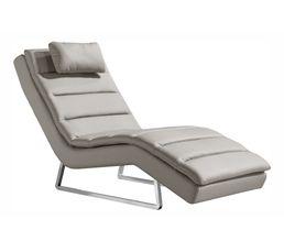 Chaise longue PEACE Simili gris clair