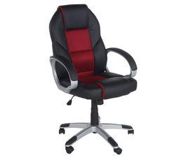 Chaises Et Fauteuils - Fauteuil de bureau LEON Noir et rouge