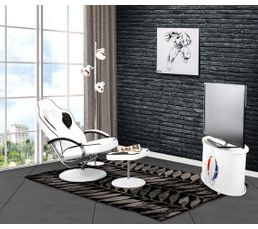Fauteuils - Fauteuil relax avec repose pied gamer GEEK Blanc et noir