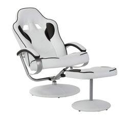 Fauteuil relax avec repose pied gamer GEEK Blanc et noir