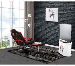 fauteuil relax avec repose pied gamer geek noir et rouge fauteuils but. Black Bedroom Furniture Sets. Home Design Ideas